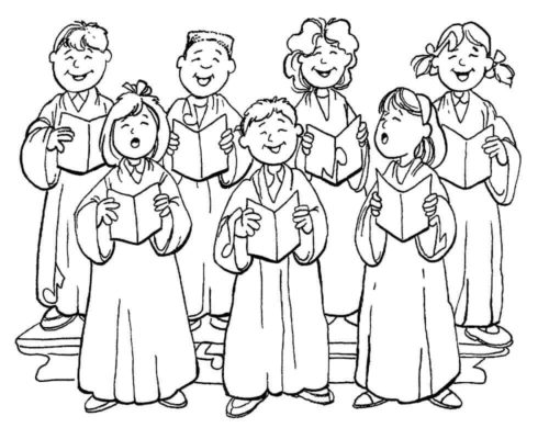 Christmas Carolers In Church Coloring Pages Printable