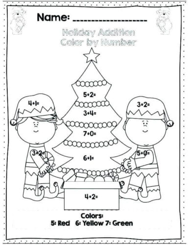 Christmas Color By Number Addition Printables