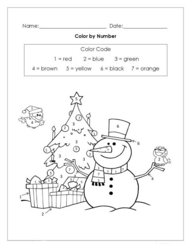 Christmas Color By Number Sheets Printable