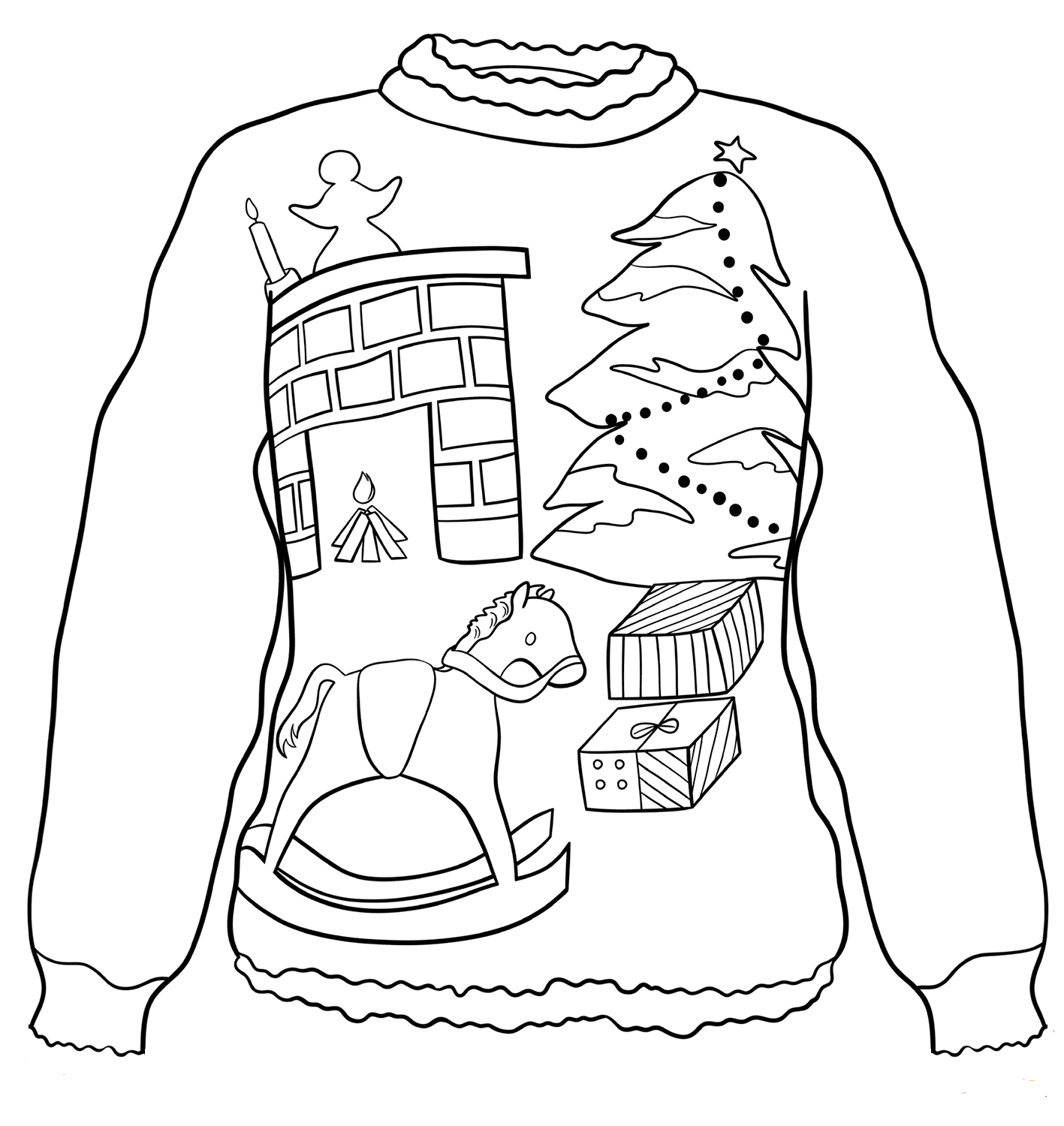 Christmas Eve Ugly Sweater Coloring Page