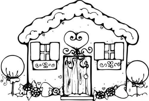 Christmas Gingerbread House Coloring Pages