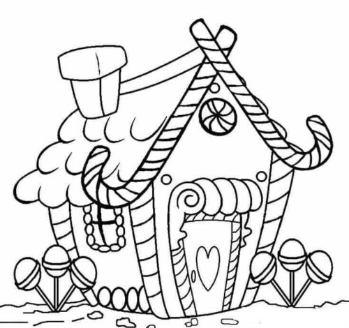 Christmas Gingerbread House Coloring Sheets To Print