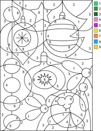 Christmas Ornaments Color By Number Printable