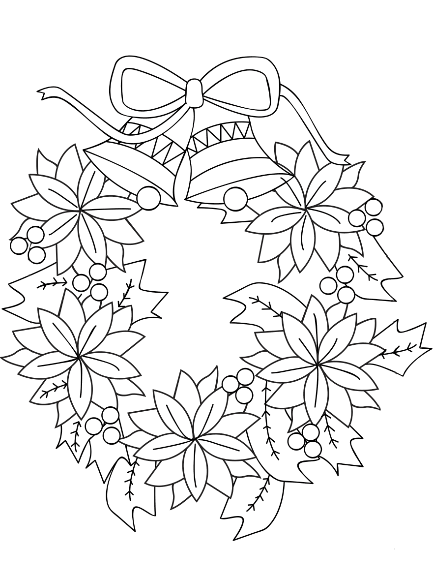 Christmas Poinsettia Wreath Coloring Page