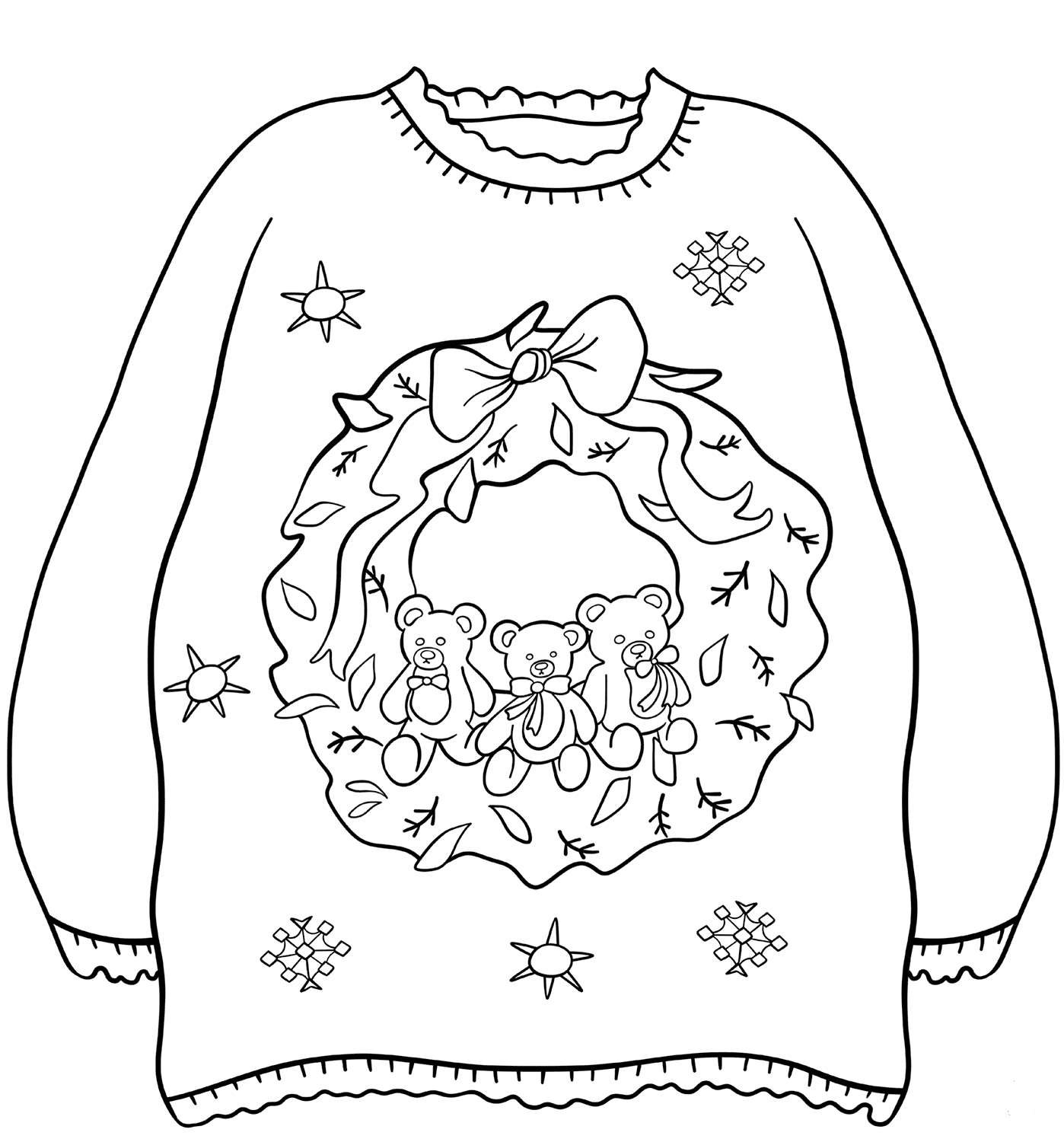 Christmas Sweater With Wreath Coloring Sheet