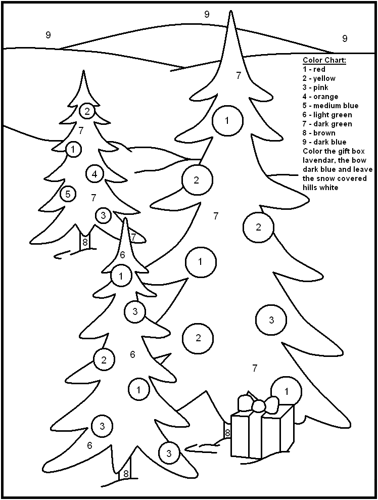 Christmas Tree Color By Number Activity Page