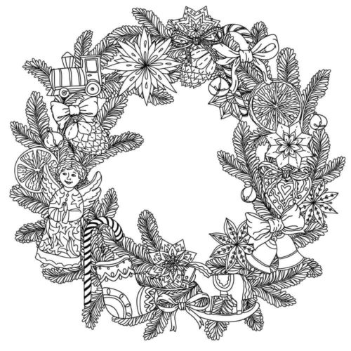 Christmas Wreath Coloring Pages For Adults