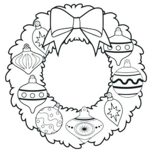 Christmas Wreath Decorated With Ornaments Coloring Page