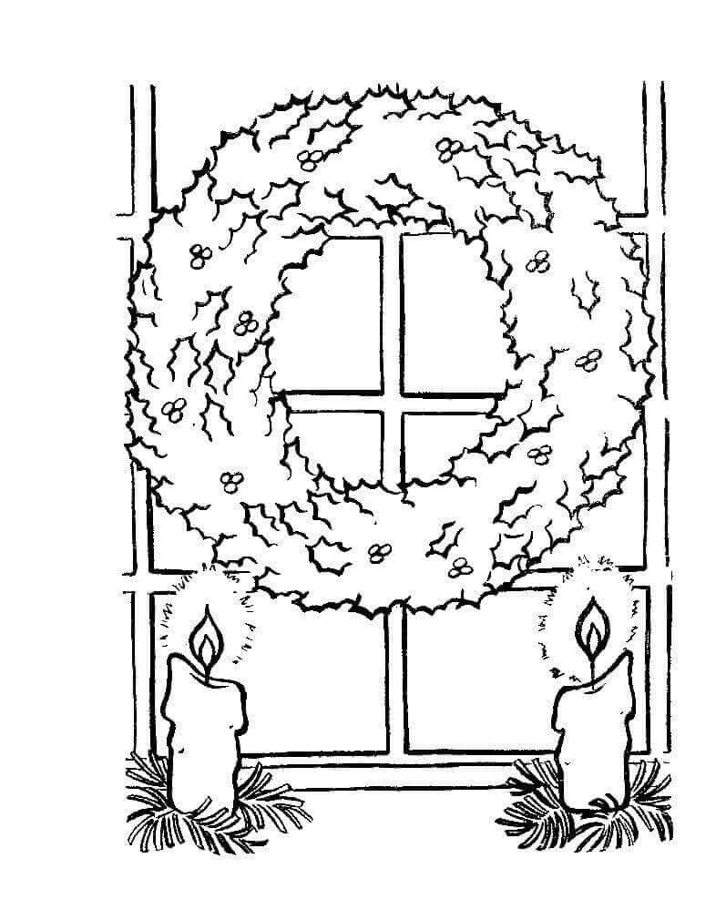 Christmas Wreath Decoration Coloring Pages