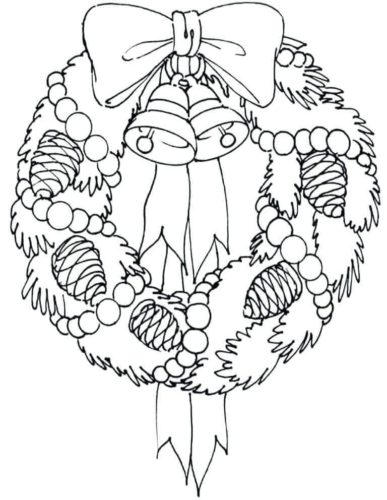 Christmas Wreath With Bell And Acorn Coloring Page