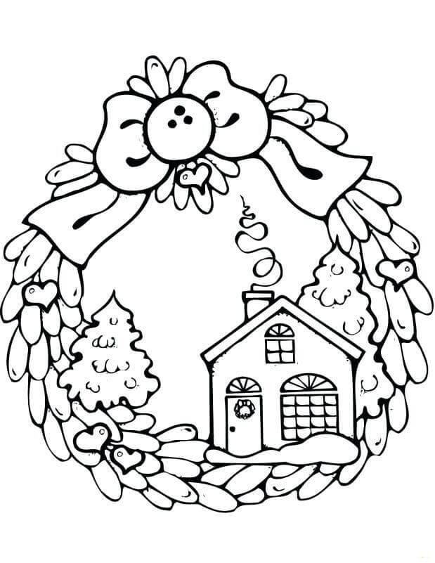 Christmas Wreath With Gingerbread House Coloring Picture