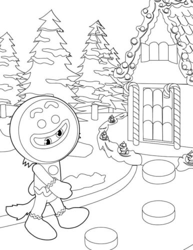 Detailed Gingerbread House Coloring Page