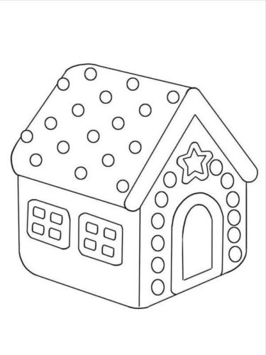 Easy Gingerbread House Coloring Pages For Kid