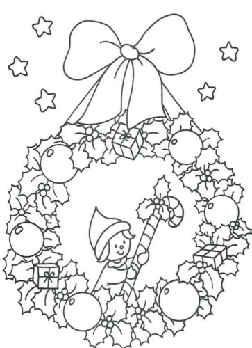 Elf On Wreath Colouring Page
