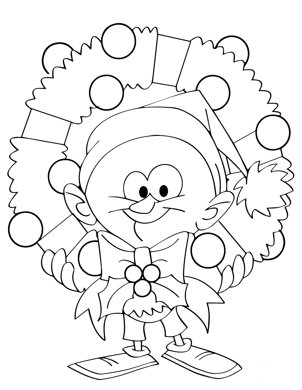 Elf With Wreath Coloring Page