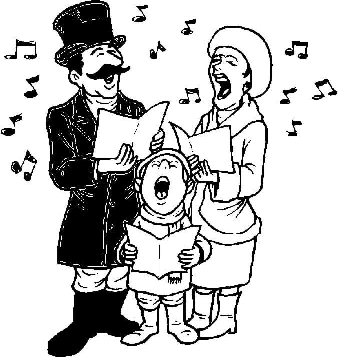 Family Singing Christmas Carol Colouring Pages