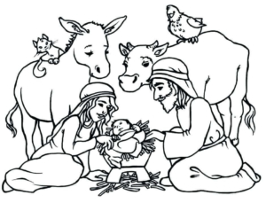 Free Nativity Coloring Scene Coloring Pages