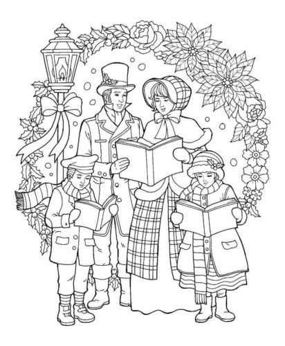 Free Printable Christmas Carolers Coloring Sheets