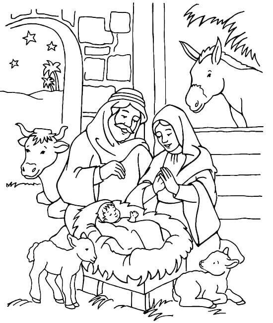 Free Printable Christmas Nativity Coloring Pages