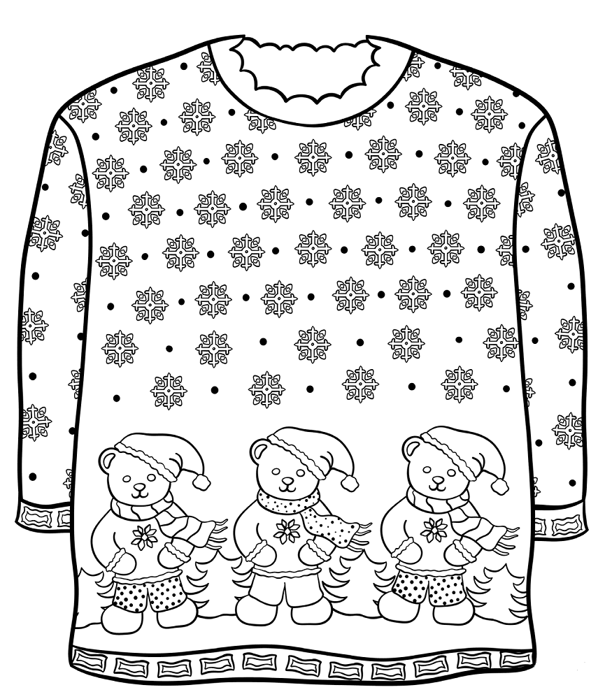 Free Printable Christmas Sweaters Coloring Pages