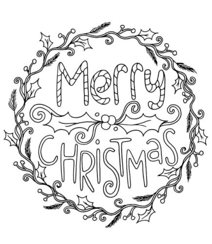 Free Printable Christmas Wreaths Coloring Pages