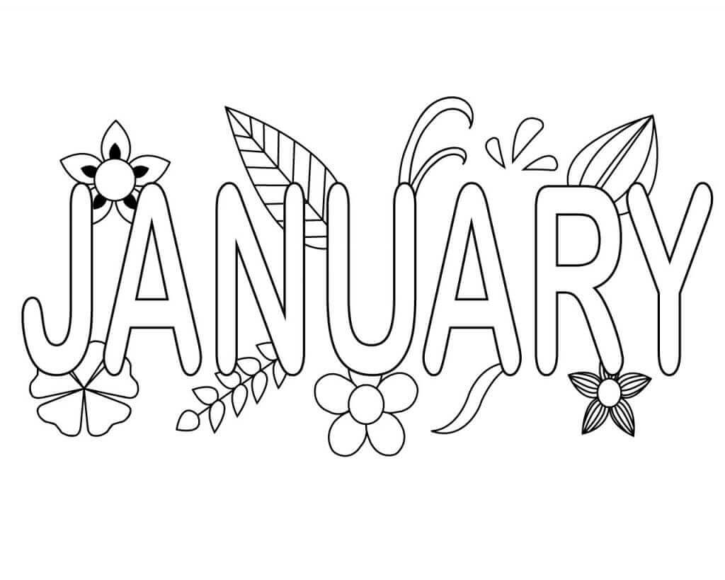 Free Printable January Month Coloring Pages