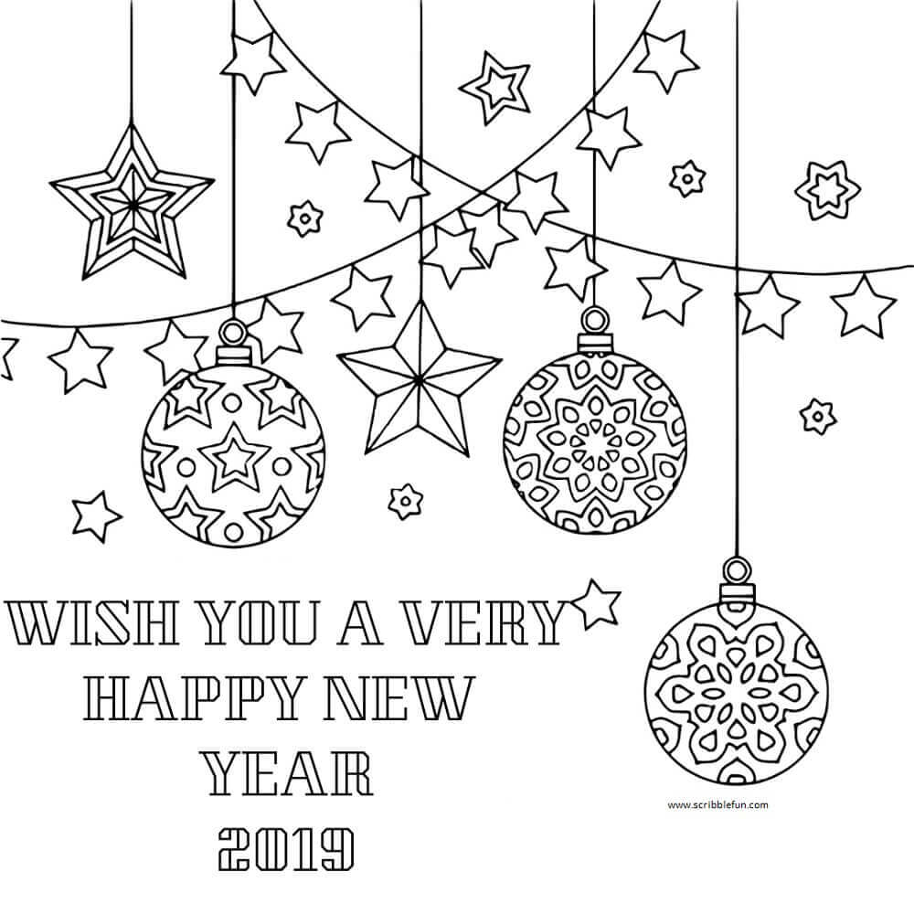 Free New Year 2019 Coloring Pages Printable