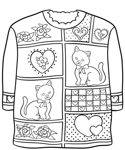 Free Printable Ugly Christmas Sweater Coloring Page