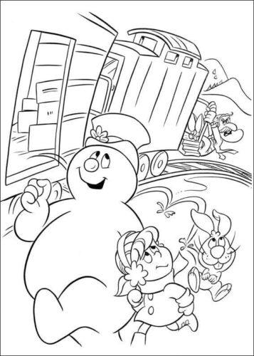 Frosty In The Railway Station Coloring Page