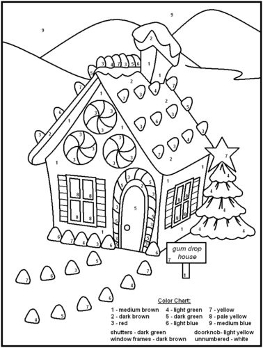Gingerbread House Color By Number Activity Sheet For Kids
