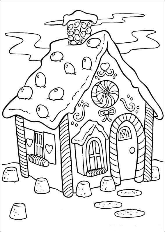 Gingerbread House Coloring Pages For Children