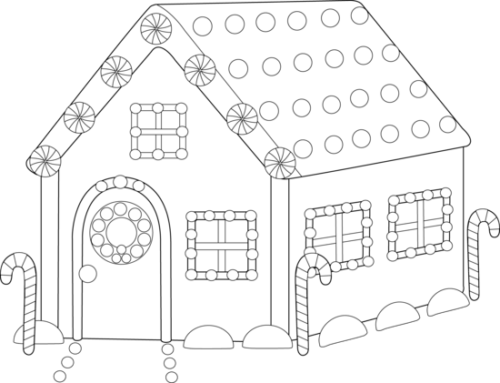 Gingerbread House Coloring Pages PDF