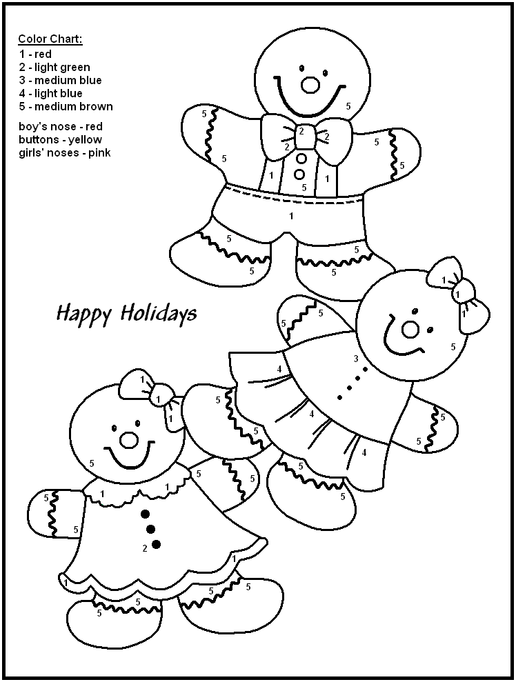 Gingerbread Man Christmas Color By Numbers Printable