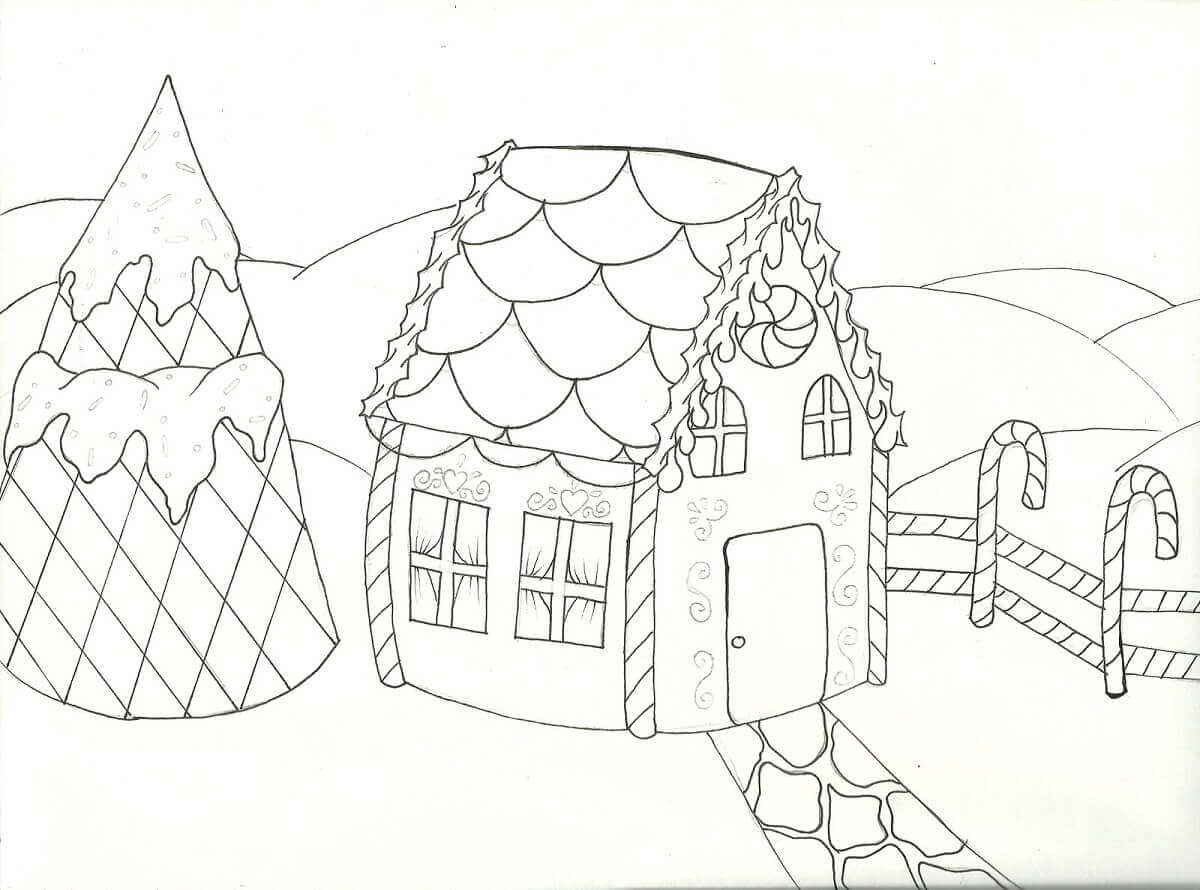 Gingerbread Village Coloring Page