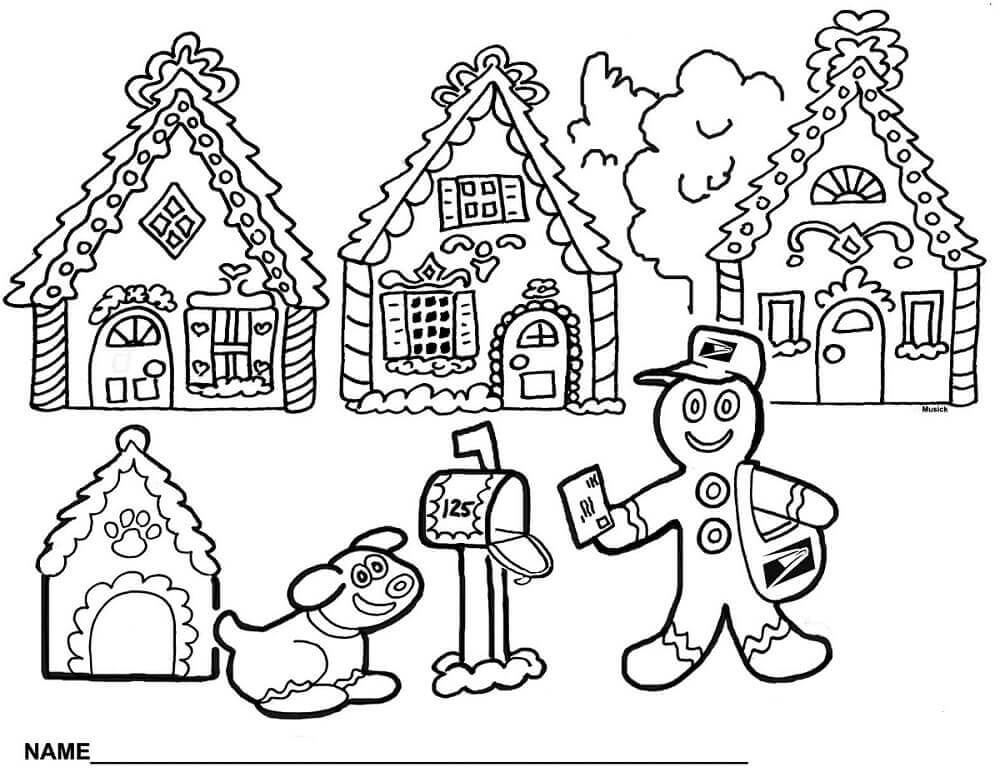 Gingerbread Village Coloring Pages
