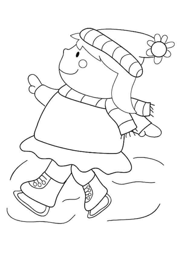 Girl Skating In January Coloring Page