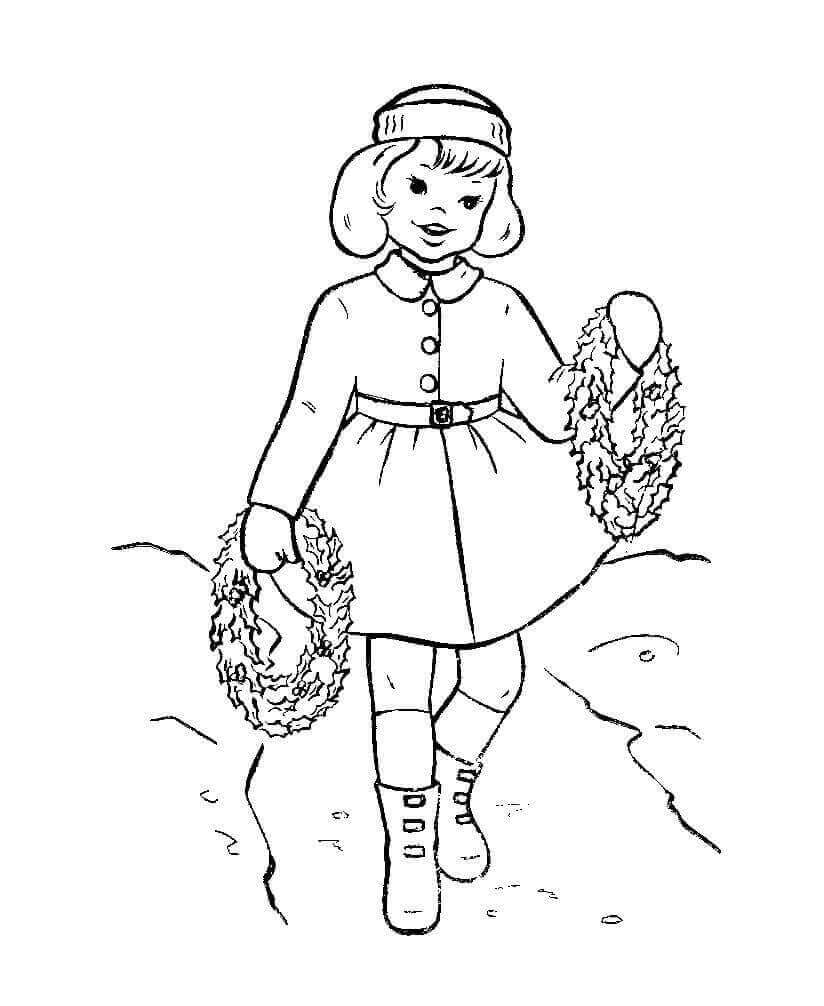 Girl With Christmas Wreaths Coloring Page