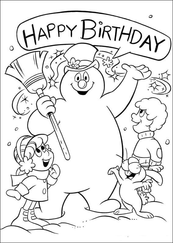 Happy Birthday Frosty Coloring Page