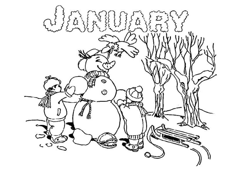Happy January Coloring Pages