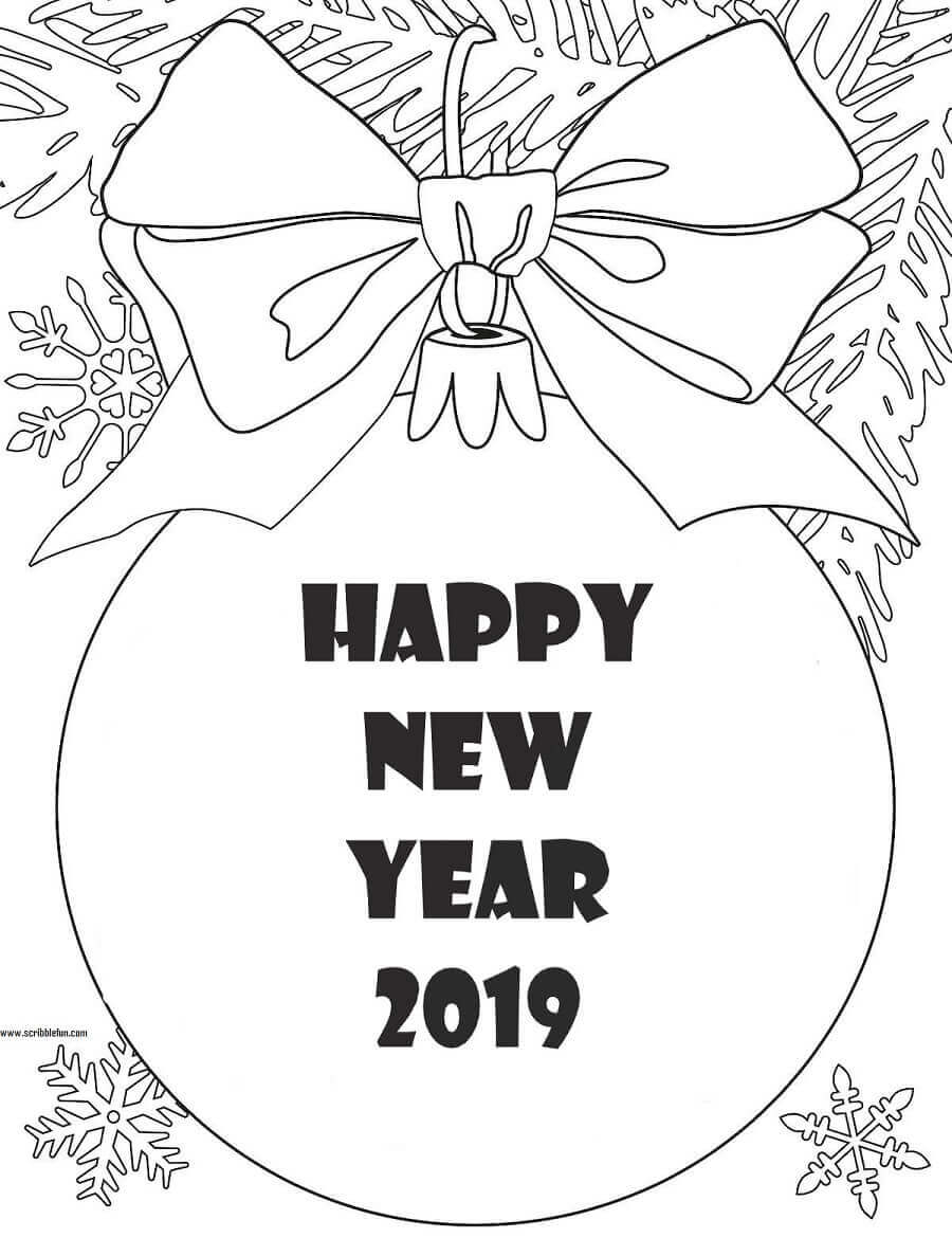 Happy New Year 2019 Coloring Pages Printable