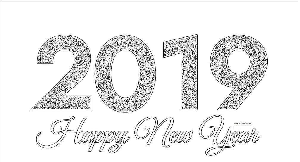 Happy New Year 2019 Coloring Pictures
