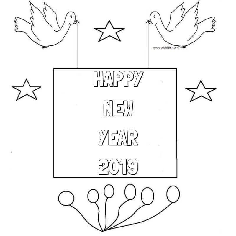 Happy New Year 2019 Pictures To Color