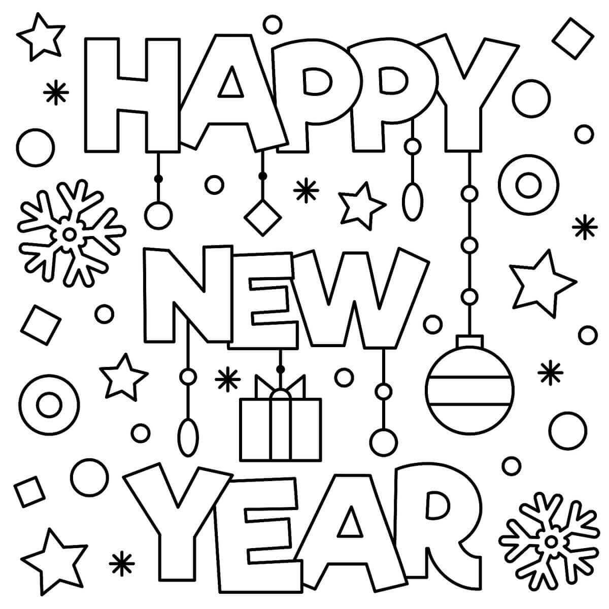 Happy New Year Coloring Free Printable Paper Trail Design Mixed ... | 1200x1200