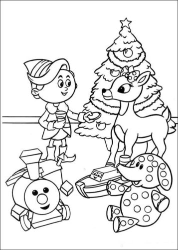 Hermey With Rudolph Coloring Page