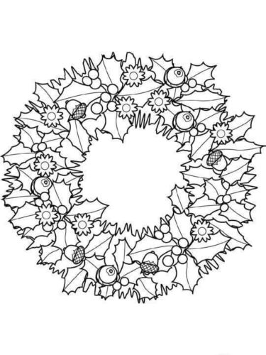 Holly Leaves Christmas Wreath Coloring Page