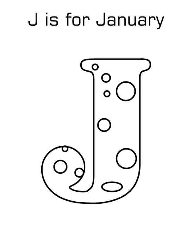 J For January Coloring Page