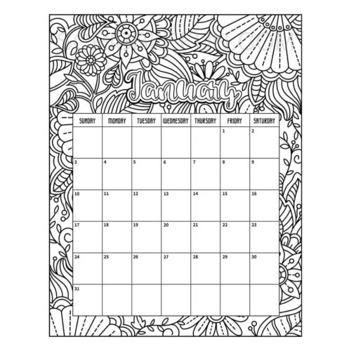 January 2021 calendar coloring page