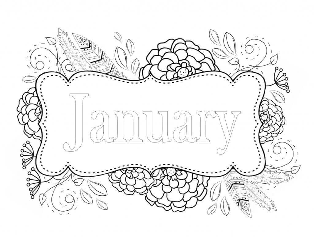 January Coloring Image Printable
