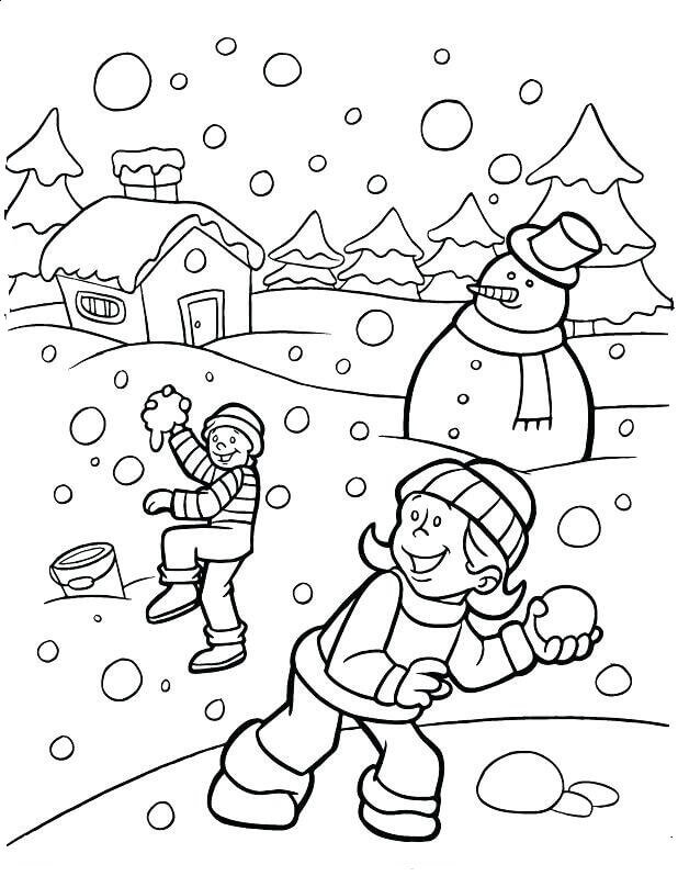 January Coloring Page Children Playing Snow
