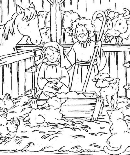 Joseph And Mary With Jesus Coloring Page